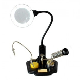 Third hand board holder with magnifying glass LED light and soldering iron file